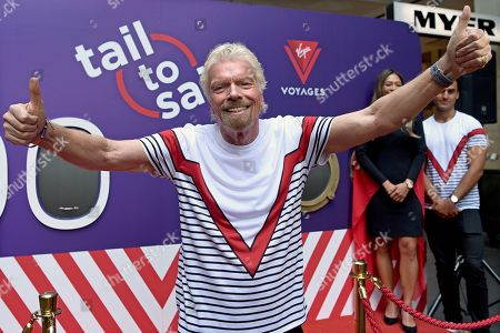 Virgin Group founder, British billionaire Sir Richard Branson poses for a photograph as he attends a Virgin Voyages cruise announcement at Pitt Street Mall in Sydney, New South Wales, Australia, 12 November 2019.