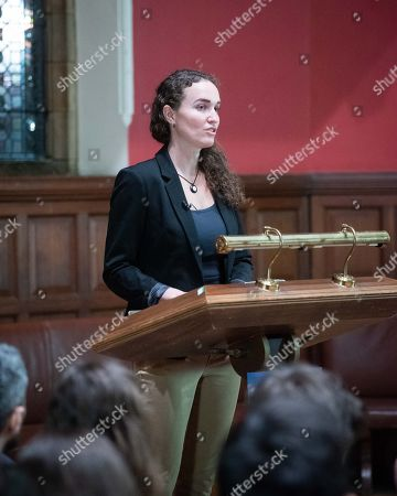 Stock Photo of Former member of the Westboro Baptist Church Megan Phelps-Roper speaking at Oxford Union