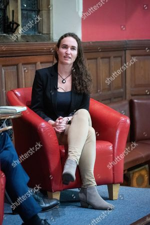 Stock Picture of Former member of the Westboro Baptist Church Megan Phelps-Roper speaking at Oxford Union