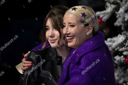 Gaia Wise, Emma Thompson. Gaia Wise and Emma Thompson pose for photographers upon arrival at the premiere of the film 'Last Christmas' in London