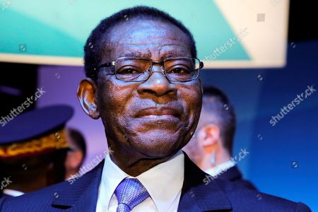 Equatorial Guinea President Teodoro Obiang Nguema Mbasogo is pictured at the start of the Paris Peace Forum in Paris