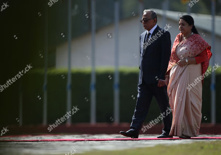 President of Bangladesh Abdul Hamid (L) walks with Nepal's President Bidhya Devi Bhandari (R) to inspect the guard of honor during a welcome ceremony at Tribhuvan International Airport in Kathmandu, Nepal, 21 November 2019.