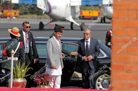 President of Bangladesh Abdul Hamid (R) arrives for a welcome ceremony at Tribhuvan International Airport in Kathmandu, Nepal, 21 November 2019. Hamid is on a three-day official goodwill visit to Nepal at the invitation of Nepal's President Bidhya Devi Bhandari.