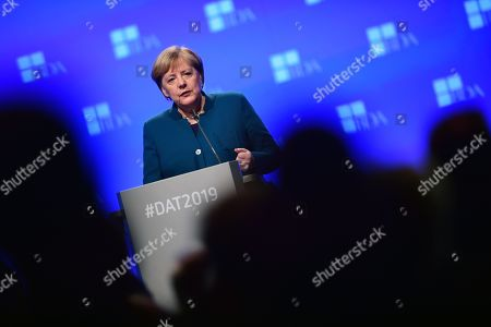 German Chancellor Angela Merkel speaks during the Day of the Employers conference in Berlin, Germany, 12 November 2019. The Confederation of German Employers' Associations (BDA) is the umbrella organization of the German Industry.