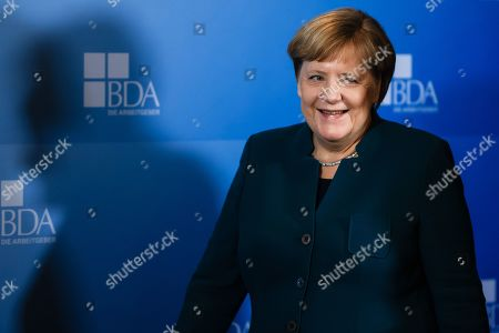 Stock Picture of German Chancellor Angela Merkel arrives for the Day of the Employers conference in Berlin, Germany, 12 November 2019. The Confederation of German Employers' Associations (BDA) is the umbrella organization of the German Industry.