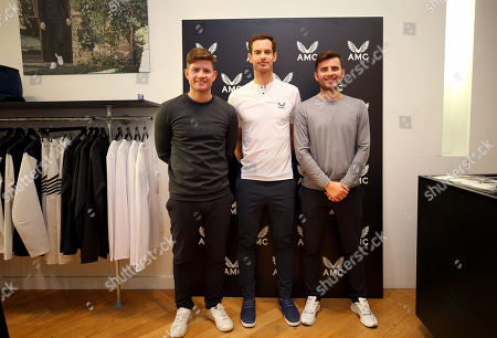 Andy Murray of GBR with Castore Owners Philip and Tom Beahon in the Castore store on the King's Road, London to launch his Andy Murray x Castore brand