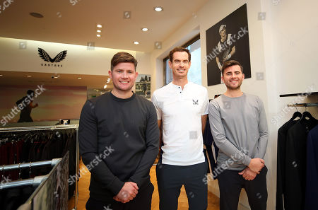 Stock Picture of Andy Murray of GBR with Castore Owners Philip and Tom Beahon in the Castore store on the King's Road, London to launch his Andy Murray x Castore brand