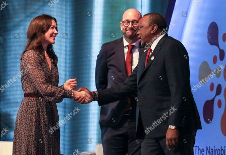 Danish Crown Princess Mary (L), Danish Minister for Development Corporation Rasmus Prehn (C) and Kenyan President Uhuru Kenyatta (R) during the official opening of the Nairobi Summit on International Conference on Population and Development (ICPD25), in Nairobi, Kenya, 12 November 2019. The summit will take place from 12 to 14 November.