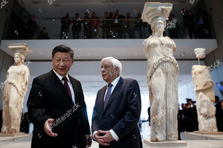 Editorial image of Chinese President Xi Jinping and Greek President Prokopis Pavlopoulos visit the Acropolis Museum, Athens, Greece - 12 Nov 2019