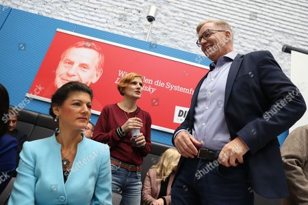 German The Left (Die Linke) party faction co-chairwoman in the German parliament Bundestag Sahra Wagenknecht (L), Co-chairwoman of German The Left (Die Linke) party Katja Kipping (R) and German The Left (Die Linke) party faction co-chairman in the German parliament Bundestag Dietmar Bartsch (R) attend a faction meeting before the vote in Berlin, Germany, 12 November 2019. As Sahra Wagenknecht resigns her position as co-chairwoman of the faction, the party will decides on its future faction leader. Caren Lay and Amira Mohamed Ali are the candidates.