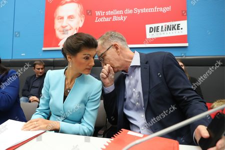 German The Left (Die Linke) party faction co-chairmen in the German parliament Bundestag Sahra Wagenknecht (L) and Dietmar Bartsch (R) attend a faction meeting before the vote in Berlin, Germany, 12 November 2019. As Sahra Wagenknecht resigns her position as co-chairwoman of the faction, the party will decides on its future faction leader. Caren Lay and Amira Mohamed Ali are the candidates.