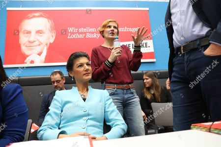 German The Left (Die Linke) party faction co-chairwoman in the German parliament Bundestag Sahra Wagenknecht (L), Co-chairwoman of German The Left (Die Linke) party Katja Kipping (R) attend a faction meeting before the vote in Berlin, Germany, 12 November 2019. As Sahra Wagenknecht resigns her position as co-chairwoman of the faction, the party will decides on its future faction leader. Caren Lay and Amira Mohamed Ali are the candidates.