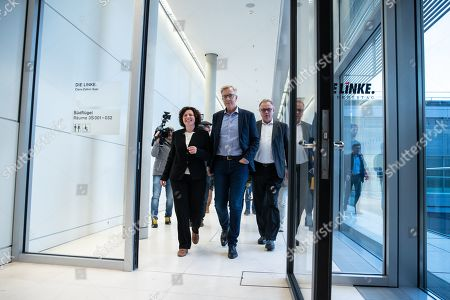 New German The Left (Die Linke) party faction co-chairwoman in the German parliament Bundestag Amira Mohamed Ali (L) and co-chairman Dietmar Bartsch (C) walk prior to a press statement in Berlin, Germany, 12 November 2019. As Sahra Wagenknecht resigns her position as co-chairwoman of the faction, the party decideed Amira Mohamed Ali as a future faction leader.