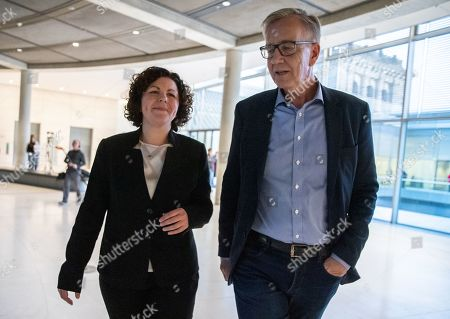 New German The Left (Die Linke) party faction co-chairwoman in the German parliament Bundestag Amira Mohamed Ali (L) and co-chairman Dietmar Bartsch (R) walk prior to a press statement in Berlin, Germany, 12 November 2019. As Sahra Wagenknecht resigns her position as co-chairwoman of the faction, the party decideed Amira Mohamed Ali as a future faction leader.