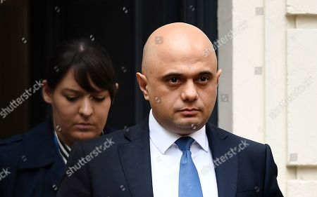Stock Picture of British Chancellor of the Exchequer Sajid Javid (C) departs the Conservative Party headquarters in London, Britain, 12 November 2019.  Key ministers are to hold an emergency Cobra meeting to discuss the floods that have devastated regions in northern England.