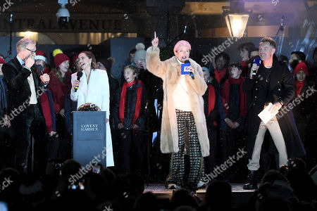 Paul Feig, Emilia Clarke, Emma Thompson and Ronan Keating singing Last Christmas after switching the Covent Garden Christmas lights on.