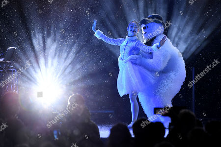 Dancers perform a dance based on Raymond Briggs The Snowman.