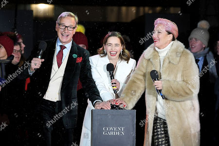 Paul Feig, Emilia Clarke and Emma Thompson switching the Christmas lights on at Covent Garden.
