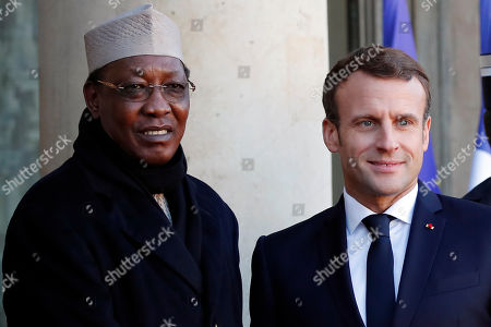 Stock Image of French President Emmanuel Macron welcomes Chad's President Idriss Deby prior to their meeting at the Elysee Palace, in Paris