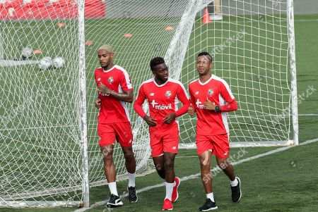 Stock Photo of Panama's Gabriel Torres, right, Jose Luis Rodriguez, center, and Azmahar Ariano train in Panama City, . Panama will play on Friday a CONCACAF soccer match against Mexico at the Rommel Fernandez stadium