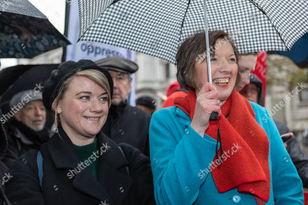 Frances O'Grady, General Secretary of the British Trades Union Congress speaks at the rally.