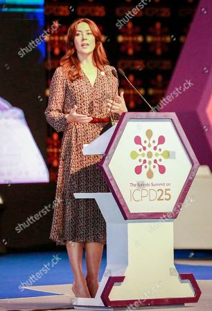 Crown Princess Mary of Denmark speaks at the opening ceremony of the International Conference on Population and Development (ICPD25) summit in Nairobi, Kenya . The three-day summit, which focuses on global reproductive and sexual health issues, will run from Nov. 12 to Nov. 14