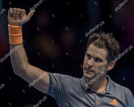 Dominic Thiem (AUT) acknowledges the crowd after his Bjorn Borg group stage match between Novak Djokovic (SRB) (2) and Dominic Thiem (AUT) (5).