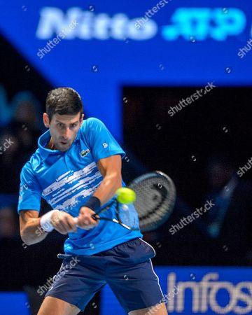 Novak Djokovic (SRB) in action during the Bjorn Borg group stage match between Novak Djokovic (SRB) (2) and Dominic Thiem (AUT) (5).