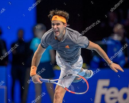 Dominic Thiem (AUT) in action during the Bjorn Borg group stage match between Novak Djokovic (SRB) (2) and Dominic Thiem (AUT) (5).