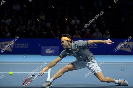Stock Picture of Dominic Thiem (AUT) in action during the Bjorn Borg group stage match between Novak Djokovic (SRB) (2) and Dominic Thiem (AUT) (5).