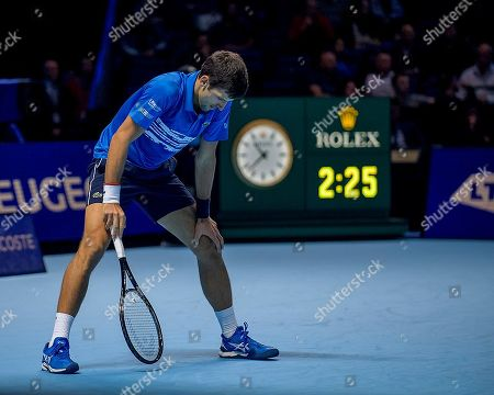 Stock Image of Novak Djokovic (SRB) in action during the Bjorn Borg group stage match between Novak Djokovic (SRB) (2) and Dominic Thiem (AUT) (5).