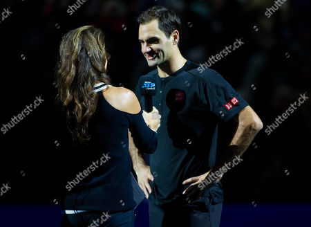 Roger Federer (SUI) is interviewed by former british number one Annabel Croft following his win in the second round Robin match against Matteo Berrettini (ITA)