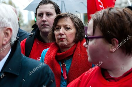 General Secretary of the Trades Union Congress (TUC) Frances O'Grady takes part in a rally as McDonald's employees, trade unionists and campaigners for fast food workers' rights gather outside Downing Street