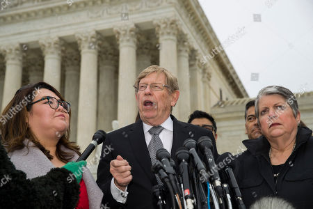 Stock Image of Ted Olson, Janet Napolitano, Greisa Martinez Rosa. Former U.S. Solicitor General Ted Olson speaks, with DACA recipient Greisa Martinez Rosa, left, and former Secretary of Homeland Security Janet Napolitano right, after leaving the Supreme Court after oral arguments were heard in the case of President Trump's decision to end the Obama-era, Deferred Action for Childhood Arrivals program (DACA), at the Supreme Court in Washington