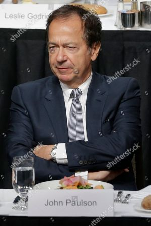 Stock Image of John Paulson attends a meeting of the Economic Club of New York in New York