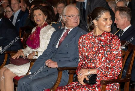 Stock Image of Queen Silvia, King Carl Gustaf and Crown Princess Victoria