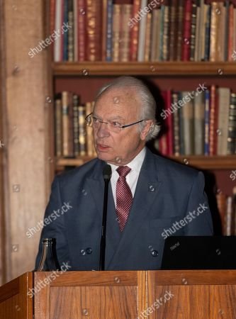 Stock Picture of King Carl Gustaf gives an introductory speech