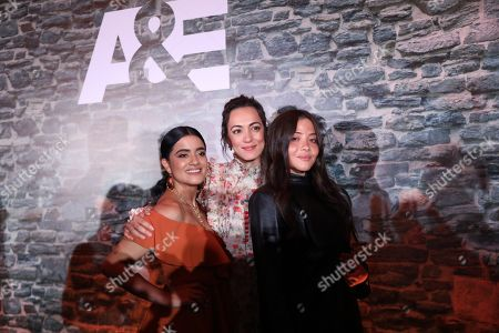 Stock Photo of Paulina Gaitan (L), Mayra Hermosillo (C) and Teresa Ruiz (R), members of the Narcos series cast, attend a press conference in Mexico City, Mexico, 12 November 2019, to announce the broadcast of the show by the A&E television network.