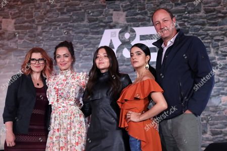 Producer Jess More (L), and actors Mayra Hermosillo (2-L), Teresa Ruiz (C), Paulina Gaitan (2-R) and Rodrigo Murray (R), members of the Narcos series cast, attend a press conference in Mexico City, Mexico, 12 November 2019, to announce the broadcast of the show by the A&E television network.