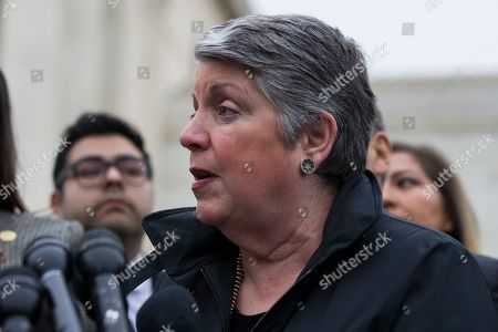 Stock Photo of Former Secretary of Homeland Security Janet Napolitano speaks after leaving the Supreme Court after oral arguments were heard in the case of President Trump's decision to end the Obama-era, Deferred Action for Childhood Arrivals program (DACA), at the Supreme Court in Washington