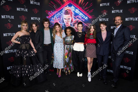 "Cara Buono, Maya Hawke, Joe Keery, Millie Bobby Brown, Priah Ferguso, Carmen Cuba, Natalia Dyer, Charlie Heaton, David Harbour. Cara Buono, from left, Maya Hawke, Joe Keery, Millie Bobby Brown, Priah Ferguso, Carmen Cuba, Natalia Dyer, Charlie Heaton and David Harbour attend a special screening of Netflix's ""Stranger Things"" season 3 at the DGA New York Theater, in New York"
