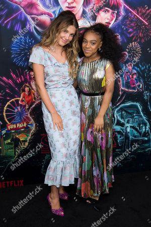 """Millie Bobby Brown, Priah Ferguson. Millie Bobby Brown, left, and Priah Ferguson attend a special screening of Netflix's """"Stranger Things"""" season 3 at the DGA New York Theater, in New York"""