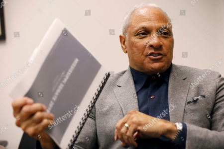 Stock Photo of Mississippi Democrat Mike Espy explains, at his Jackson, Miss., office, how he is using data to help him pursue votes in a run for the U.S. Senate against Republican incumbent Cindy Hyde-Smith, setting up a 2020 rematch of their 2018 special election to fill the last two years of retired Republican Sen. Thad Cochran's six-year term. Espy announced Tuesday that he's running again for U.S. Senate in Mississippi