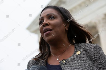 New York Attorney General Letitia James speaks to the press after the Supreme Court heard arguments on the Deferred Action for Childhood Arrivals program in Washington DC