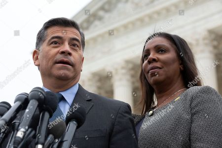 California Attorney General Xavier Becerra, joined by New York Attorney General Letitia James, speaks to the press after the Supreme Court heard arguments on the Deferred Action for Childhood Arrivals program in Washington DC