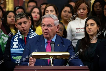 United States Senator Bob Menendez (Democrat of New Jersey), joined by other Democratic lawmakers, speaks during a press conference on the Deferred Action for Childhood Arrivals program on Capitol Hill in Washington DC