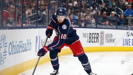 Columbus Blue Jackets' Alexander Wennberg, of Sweden, plays against the Edmonton Oilers during an NHL hockey game, in Columbus, Ohio