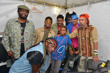 "Jamaican reggae fusion band Richard M Daley, Tony ""Ruption"" Williams, AJ Brown, Maurice Gregory, Norris ""Noreiga"" Webb and Stephen ""Cat"" Coore of Third World and Ethan (C)backstage"