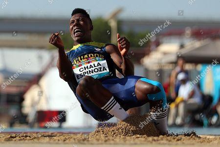 Roberto Carlos Chala Espinoza of Ecuador competes in the Men's Long Jump T20 final at the World Para Athletics Championships in Dubai, United Arab Emirates, 13 November 2019.
