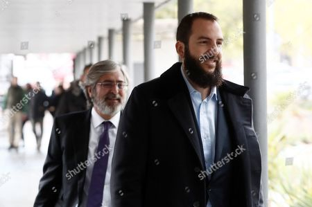Borja Thyssen-Bornemisza (R), son of Baroness Thyssen, Carmen Cervera, arrives at the court to attend his trial for alleged tax fraud in Madrid, Spain, 13 November 2019. The defendant is accused of defrauding around 600,000 euro in 2007. The Spanish public prosecutor office has asked for a two-year jail sentence against Borja Thyssen-Bornemisza and a fine of 595,000 euro.